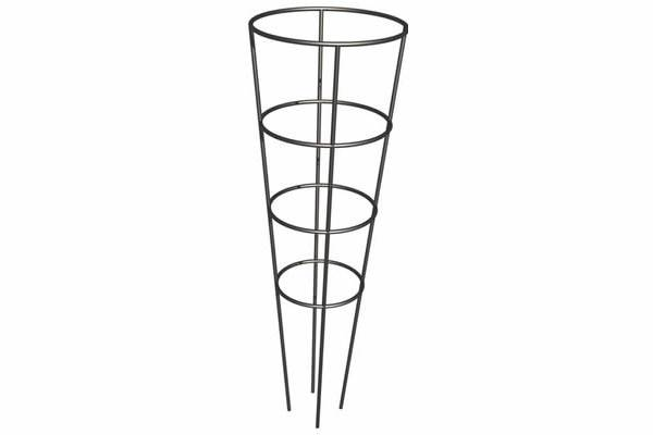 Galvanized cone tomato cage with four legs and four rings
