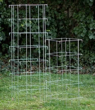 Two galvanized folding tomato cages: one with 7 rings and another with 5 rings Hinged panels fold flat for compact storage